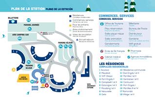 Plan de la station de Piau Engaly, parkings, commerces, services et résidences