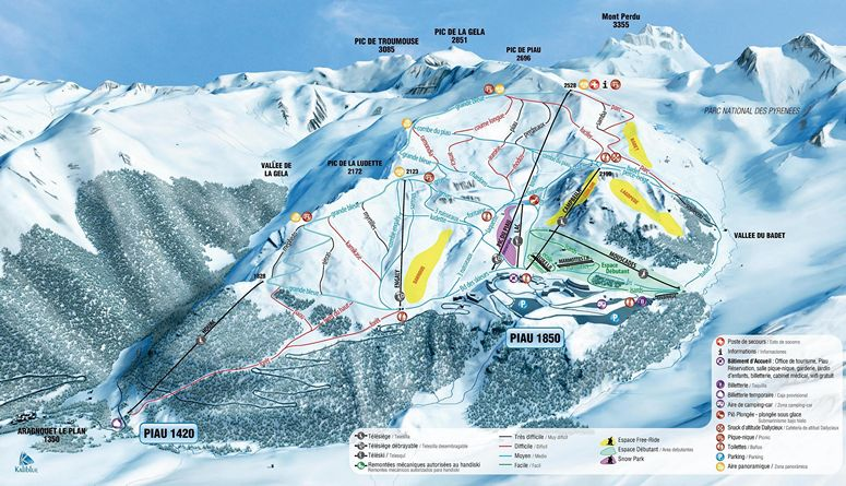Plan des pistes de ski alpin du domaine skiable de Piau Engaly